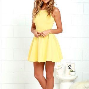 Brand New Lulus Yellow Wanderlust Skater Dress